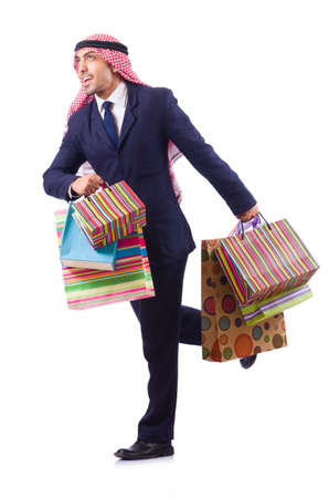 Arab man with shopping gifts on white Stock Photo - 19482503
