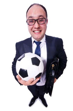 Businessman with football on white Stock Photo - 19642604