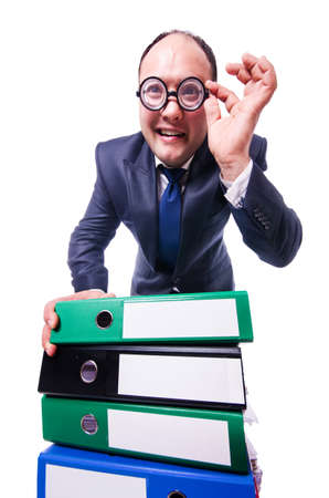 Funny man with lots of folders on white Stock Photo - 19501281