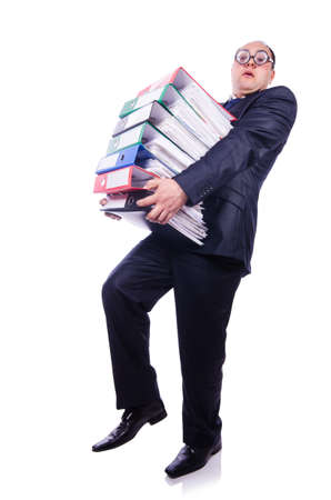 Funny man with lots of folders on white Stock Photo - 19501288