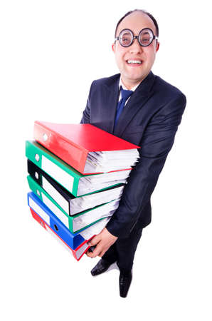 Funny man with lots of folders on white Stock Photo - 19501285