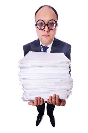 Funny man with lots of folders on white Stock Photo - 19501293