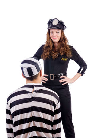 Police and prison inmate on white Stock Photo