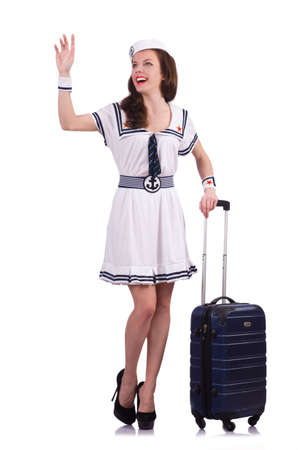 Woman travel attendant with suitcase on white Stock Photo - 19433681
