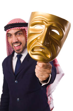 Arab man with mask on white Stock Photo - 19477828