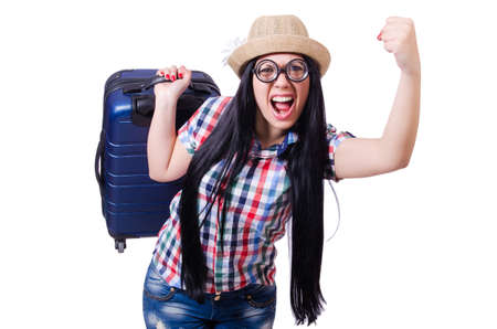 Young woman ready for summer vacation on white Stock Photo - 19482716