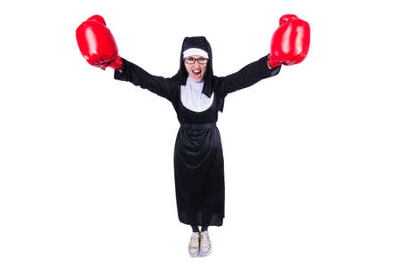 Nun with boxing gloves isolated on white Stock Photo - 19512287