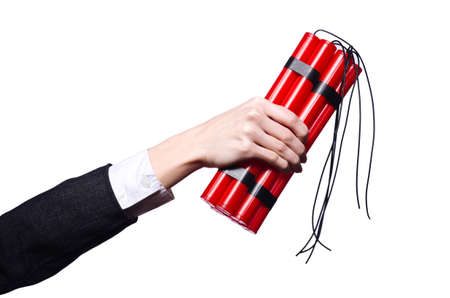 Hand holding bars of dynamite on white Stock Photo - 19433767
