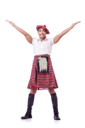 Scottish man dancing on white photo