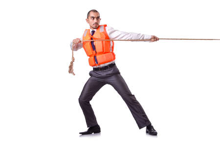 Man in life jacket isolated on white photo