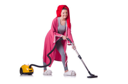 Woman working with vacuum cleaner on white Stock Photo - 19496071