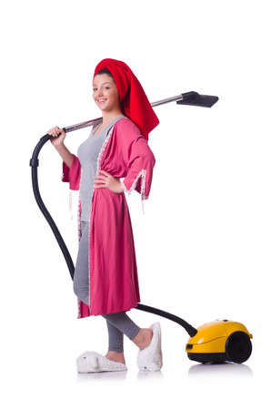 Woman working with vacuum cleaner on white Stock Photo - 19496034