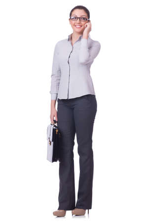 Businesswoman isolated on the white background photo