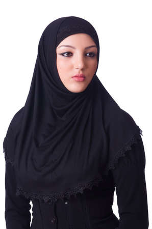 Muslim young woman wearing hijab on white Stock Photo - 19496014