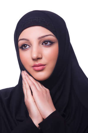 Muslim young woman wearing hijab on white Stock Photo - 19496016
