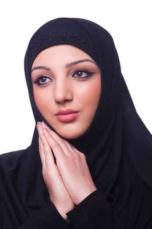 Muslim young woman wearing hijab on white Stock Photo - 19496016