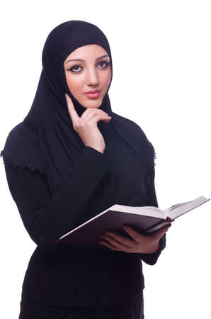 Muslim young woman wearing hijab on white Stock Photo - 19496018