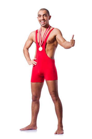 Young wrestler isolated on the white Stock Photo - 19433696