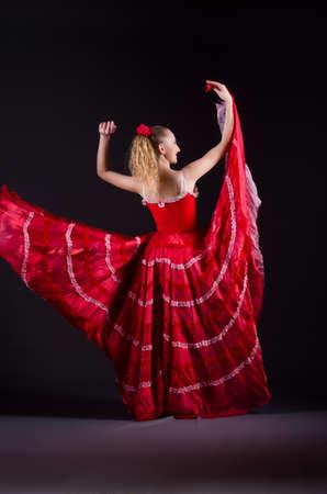 Girl in red dress dancing dance Stock Photo - 19467497