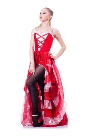 Girl in red dress dancing dance Stock Photo - 19433883