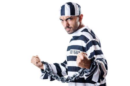 Convict criminal in striped uniform Stock Photo - 19433836