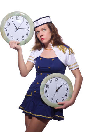 Sailor with clock isolated on white Stock Photo - 19433887
