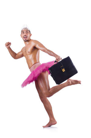 Man in tutu with briefcase on white Stock Photo - 19512326