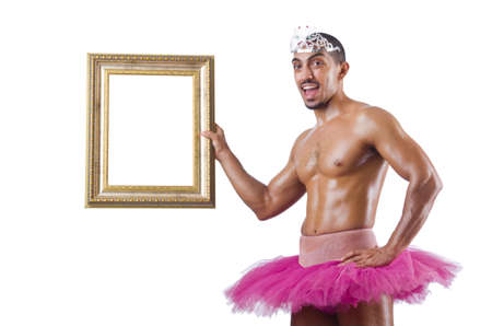 Man in pink tutu with picture frame Stock Photo - 19512348