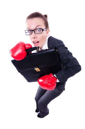 Woman with boxing gloves on white Stock Photo - 19479338