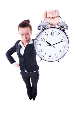 Funny woman with clock on white Stock Photo - 19433788