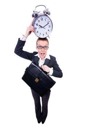 Funny woman with clock on white Stock Photo - 19479328