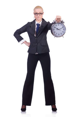 Woman with giant clock on white Stock Photo - 19433651