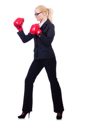 Woman businesswoman with boxing gloves on white Stock Photo - 19433608
