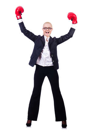 Woman businesswoman with boxing gloves on white Stock Photo - 19433600