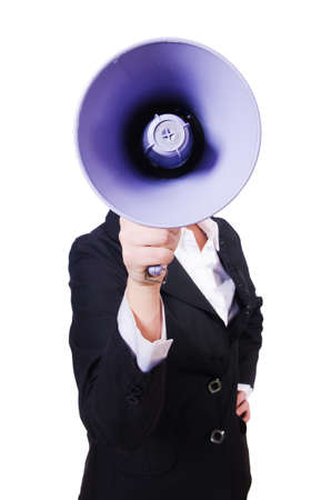 Woman businesswoman with loudspeaker on white Stock Photo - 19433795
