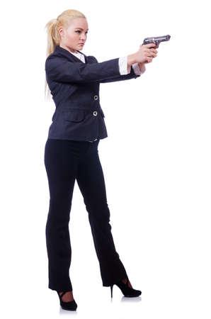 guardaespaldas: Mujer con el arma aislado en blanco