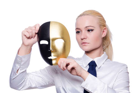 Woman with mask in hypocrisy concept Stock Photo - 19433884
