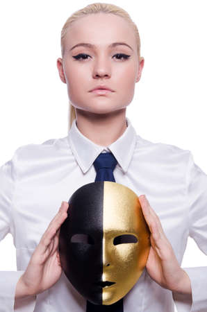 Woman with mask in hypocrisy concept Stock Photo - 19467514