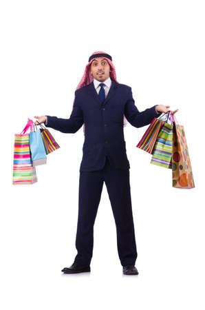 Arab man with shopping gifts on white Stock Photo - 19433709