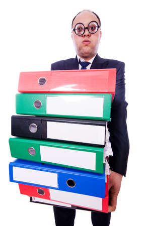 Funny man with lots of folders on white Stock Photo - 19513282