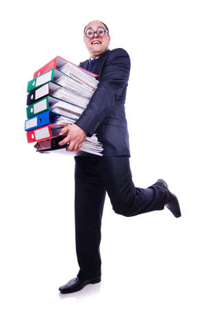 Funny man with lots of folders on white Stock Photo - 19512789