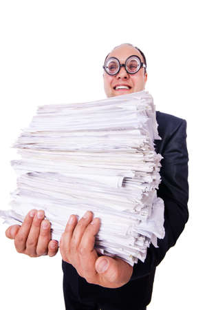 Funny man with lots of folders on white Stock Photo - 19513180