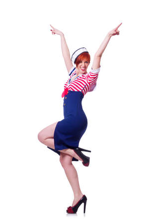 Airhostess isolated on the white background Stock Photo - 19512413