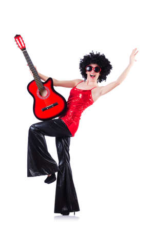 Young singer with afro cut and guitar photo