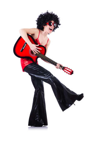 Young singer with afro cut and guitar Stock Photo - 19512739