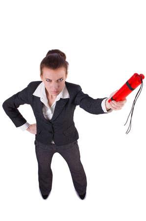 Businesswoman with dynamite on white Stock Photo - 19512826