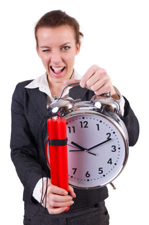 Businesswoman with dynamite and clock Stock Photo - 19513291