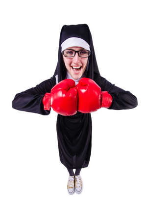 Nun with boxing gloves isolated on white Stock Photo - 19512730