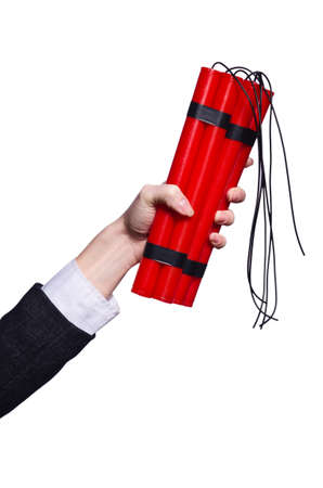 Hand holding bars of dynamite on white Stock Photo - 19436739