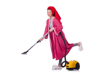 Woman working with vacuum cleaner on white Stock Photo - 19512538